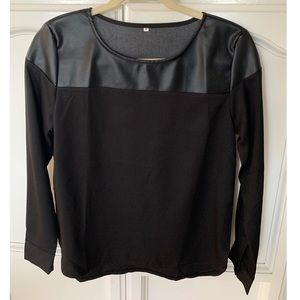 Faux Leather Long Sleeve Top